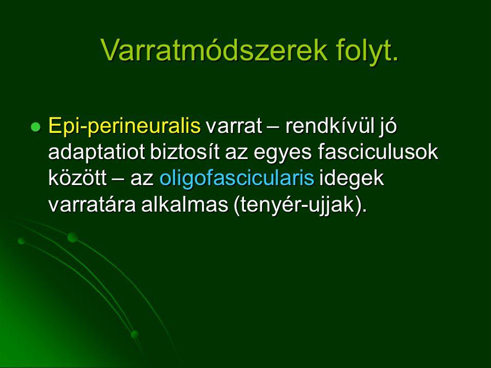 Epi-perineuralis varrat – rendkívül jó adaptatiot biztosít az egyes fasciculusok között – az oligofascicularis idegek varratára alkalmas (tenyér-ujjak).