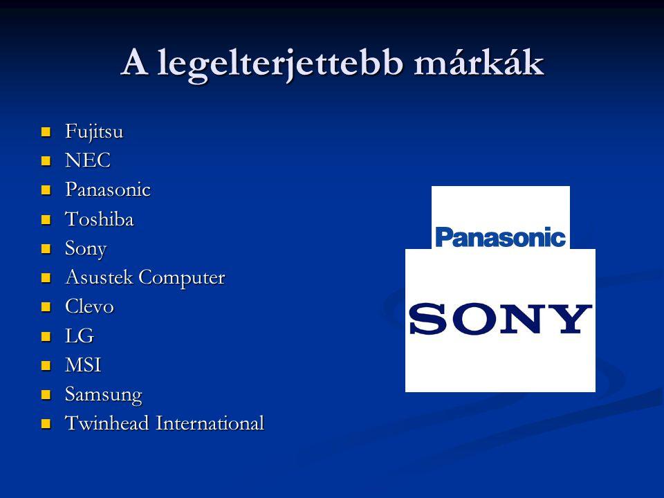 A legelterjettebb márkák Fujitsu Fujitsu NEC NEC Panasonic Panasonic Toshiba Toshiba Sony Sony Asustek Computer Asustek Computer Clevo Clevo LG LG MSI
