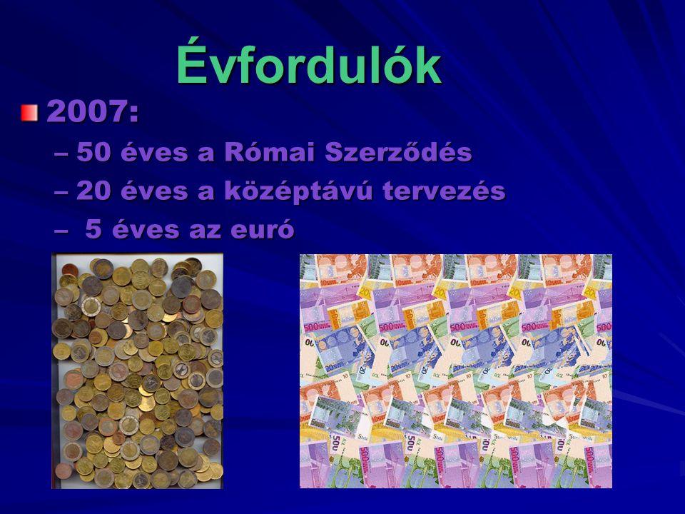 Évfordulók 2007: –50 éves a Római Szerződés –20 éves a középtávú tervezés – 5 éves az euró