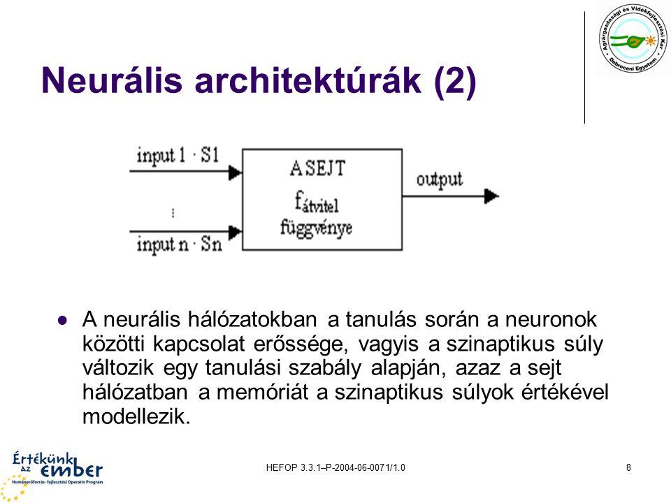HEFOP 3.3.1–P-2004-06-0071/1.08 Neurális architektúrák (2) A neurális hálózatokban a tanulás során a neuronok közötti kapcsolat erőssége, vagyis a szinaptikus súly változik egy tanulási szabály alapján, azaz a sejt hálózatban a memóriát a szinaptikus súlyok értékével modellezik.