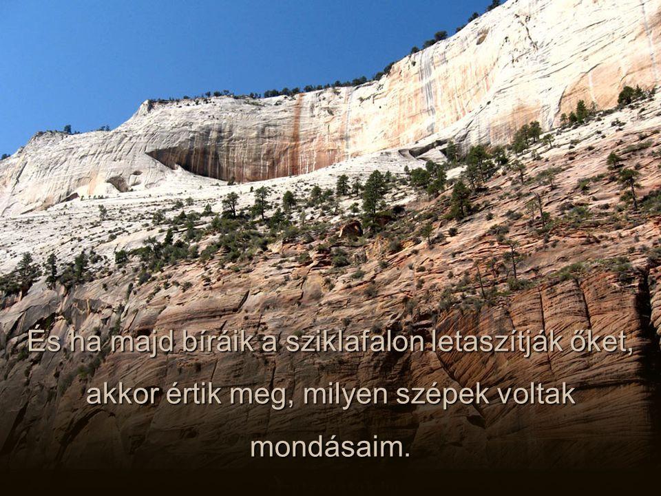 És ha majd bíráik a sziklafalon letaszítják őket, akkor értik meg, milyen szépek voltak mondásaim.