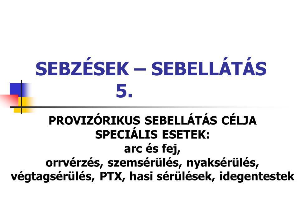 SEBZÉSEK – SEBELLÁTÁS 5. PROVIZÓRIKUS SEBELLÁTÁS CÉLJA SPECIÁLIS ESETEK: arc és fej, orrvérzés, szemsérülés, nyaksérülés, végtagsérülés, PTX, hasi sér