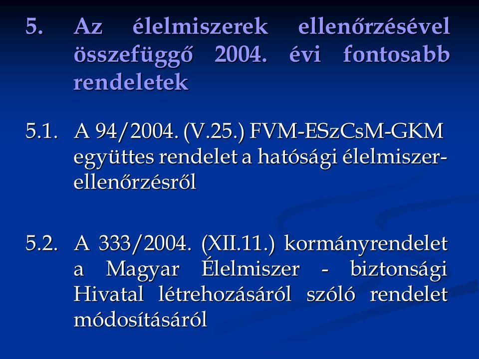 5. Az élelmiszerek ellenőrzésével összefüggő 2004. évi fontosabb rendeletek 5.1. A 94/2004. (V.25.) FVM-ESzCsM-GKM együttes rendelet a hatósági élelmi