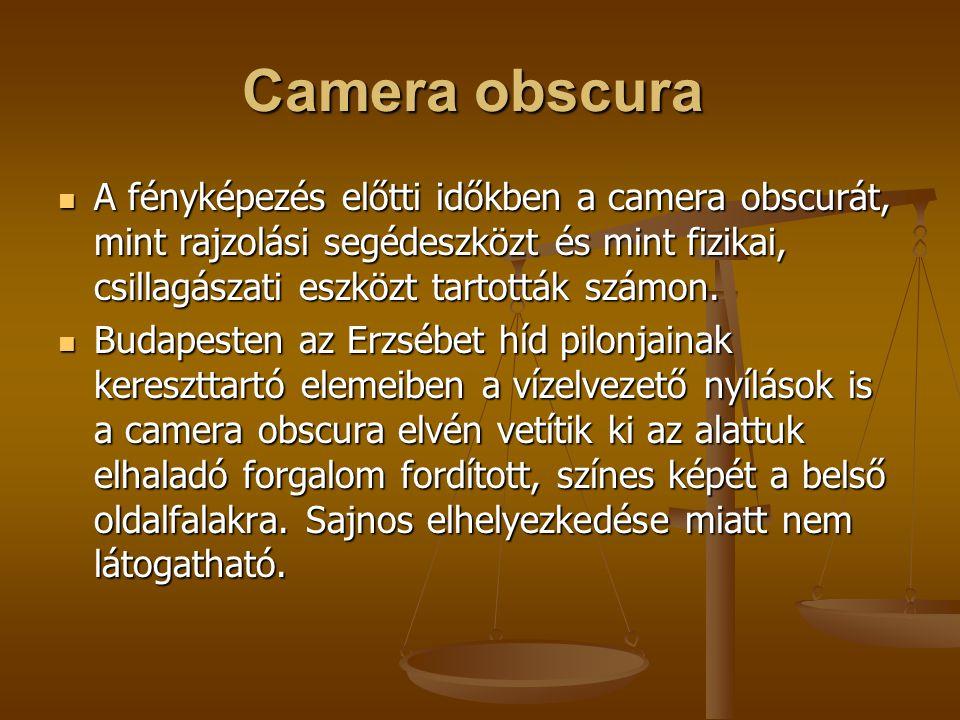 A fényképezés előtti időkben a camera obscurát, mint rajzolási segédeszközt és mint fizikai, csillagászati eszközt tartották számon. A fényképezés elő