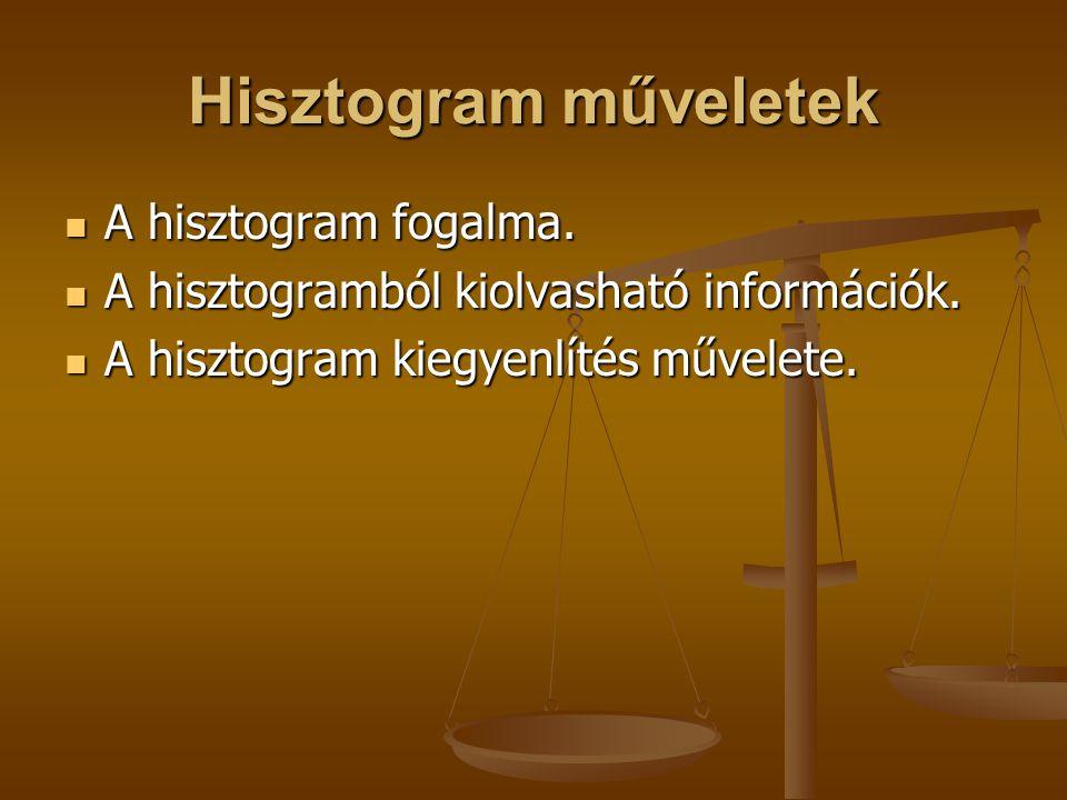Hisztogram műveletek A hisztogram fogalma. A hisztogram fogalma. A hisztogramból kiolvasható információk. A hisztogramból kiolvasható információk. A h