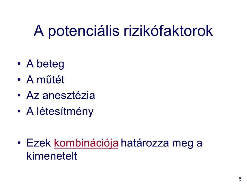 5 A potenciális rizikófaktorok A beteg A műtét Az anesztézia A létesítmény Ezek kombinációja határozza meg a kimenetelt