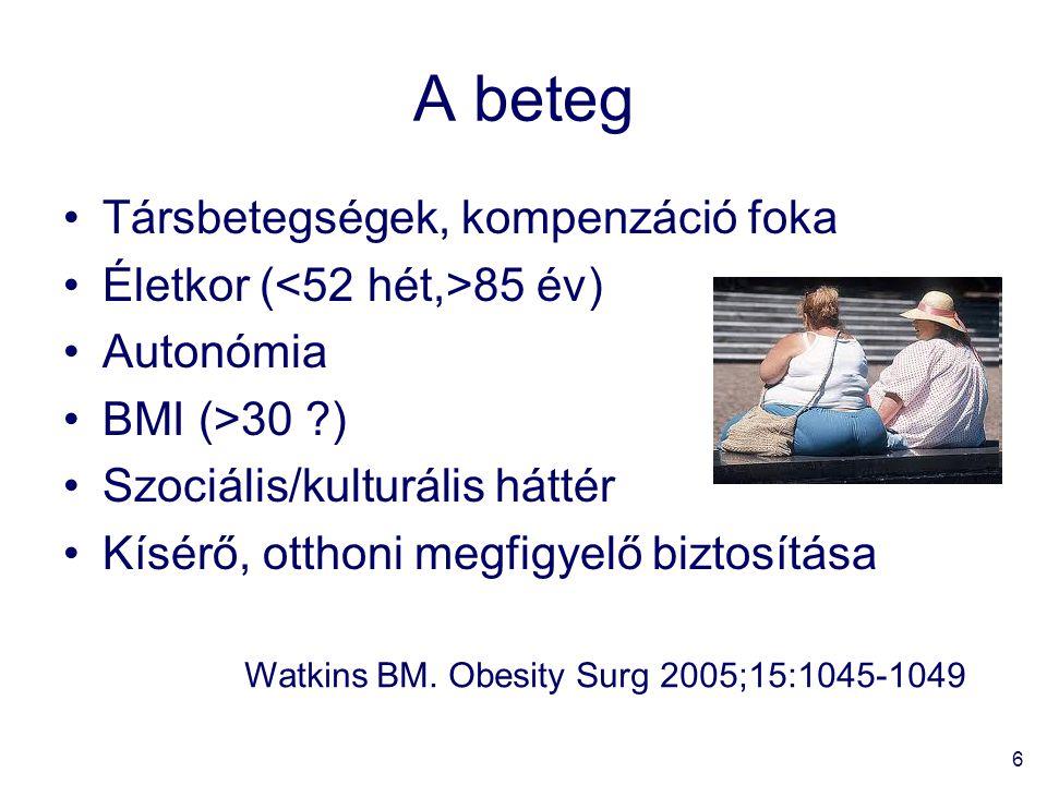 6 A beteg Társbetegségek, kompenzáció foka Életkor ( 85 év) Autonómia BMI (>30 ?) Szociális/kulturális háttér Kísérő, otthoni megfigyelő biztosítása Watkins BM.