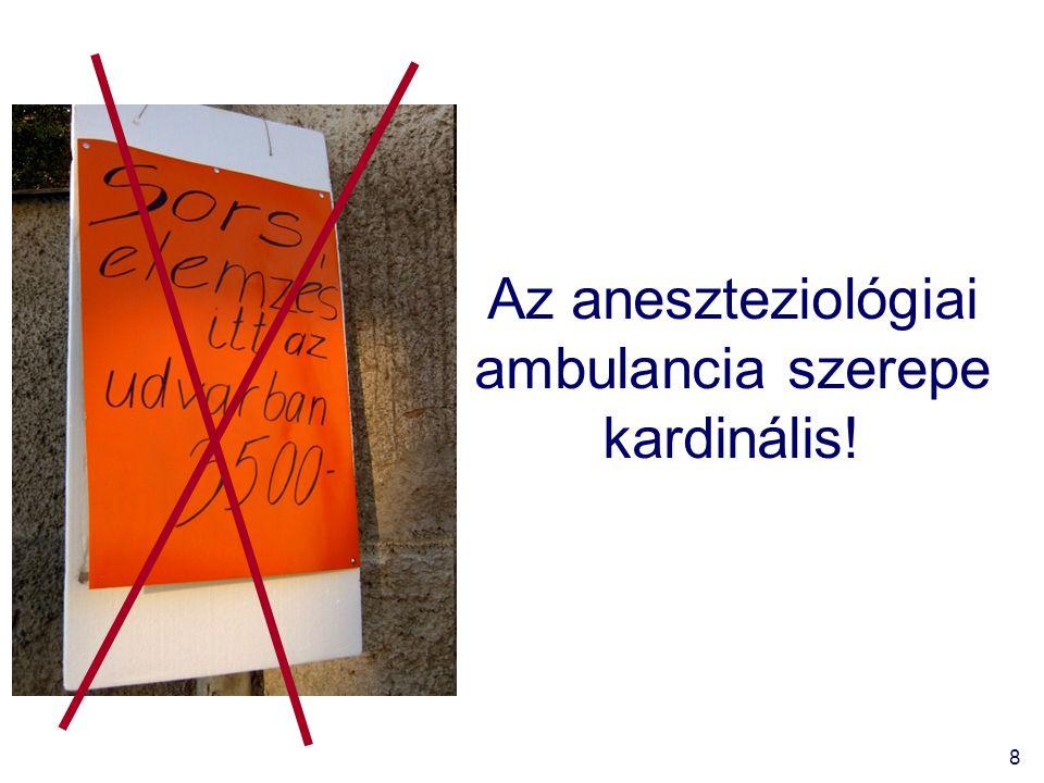 8 Az aneszteziológiai ambulancia szerepe kardinális!