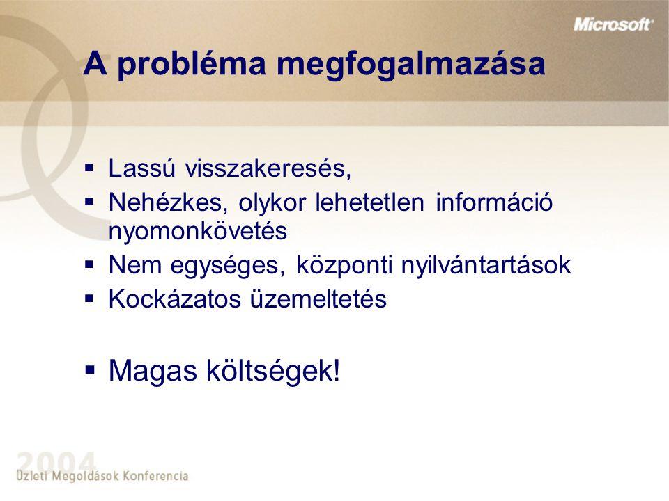 A probléma megfogalmazása  Lassú visszakeresés,  Nehézkes, olykor lehetetlen információ nyomonkövetés  Nem egységes, központi nyilvántartások  Koc