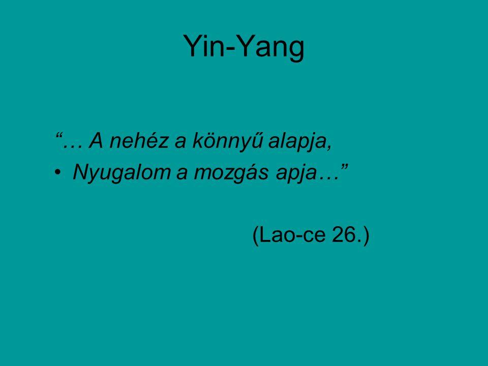 Yin-Yang … A nehéz a könnyű alapja, Nyugalom a mozgás apja… (Lao-ce 26.)