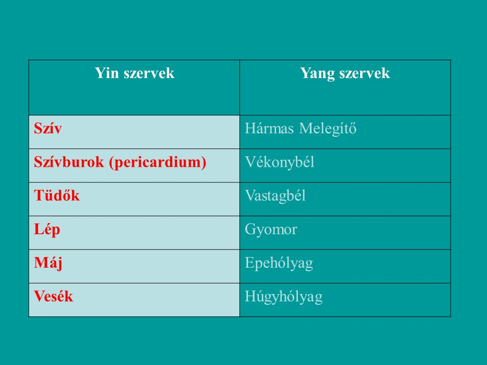 Yin és Yang szervek Yin szervekYang szervek SzívHármas Melegítő Szívburok (pericardium)Vékonybél TüdőkVastagbél LépGyomor MájEpehólyag VesékHúgyhólyag
