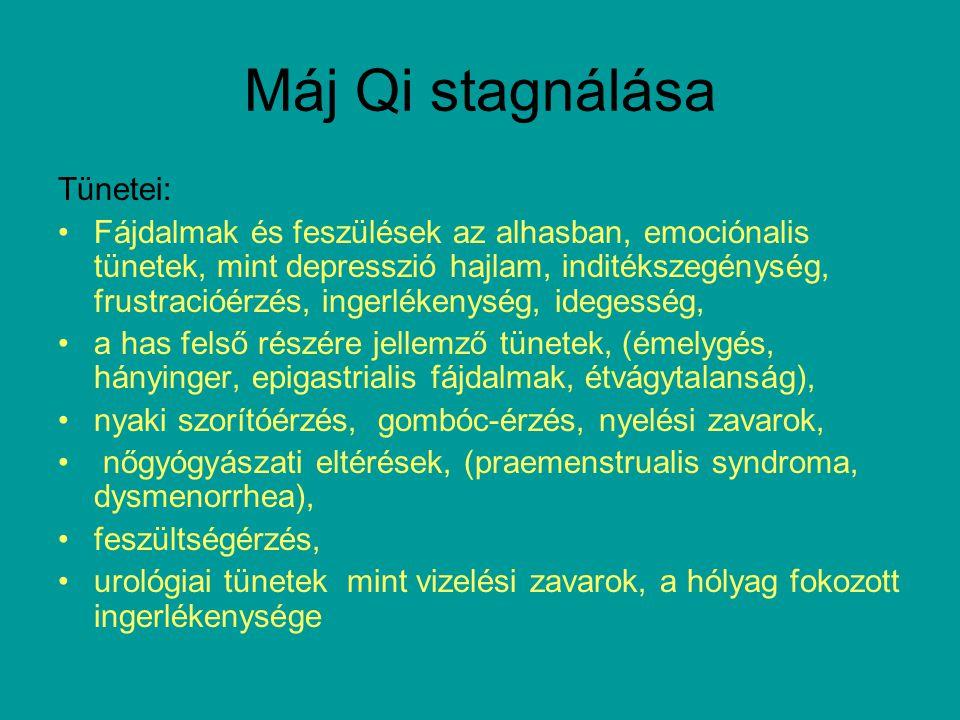 Máj Qi stagnálása Tünetei: Fájdalmak és feszülések az alhasban, emociónalis tünetek, mint depresszió hajlam, inditékszegénység, frustracióérzés, ingerlékenység, idegesség, a has felső részére jellemző tünetek, (émelygés, hányinger, epigastrialis fájdalmak, étvágytalanság), nyaki szorítóérzés, gombóc-érzés, nyelési zavarok, nőgyógyászati eltérések, (praemenstrualis syndroma, dysmenorrhea), feszültségérzés, urológiai tünetek mint vizelési zavarok, a hólyag fokozott ingerlékenysége