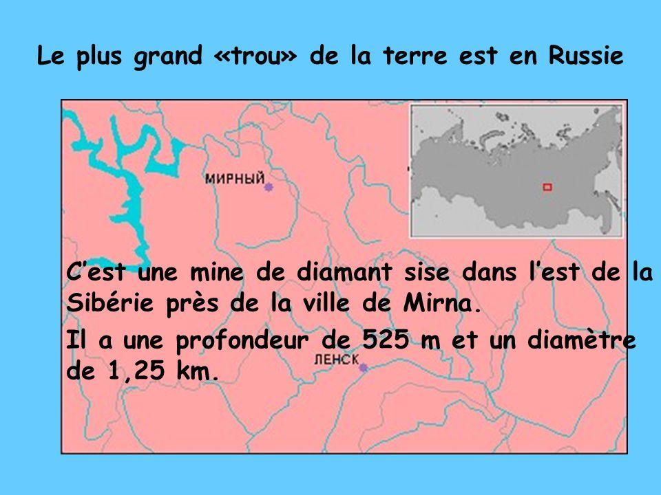 Le plus grand «trou» de la terre est en Russie C'est une mine de diamant sise dans l'est de la Sibérie près de la ville de Mirna.