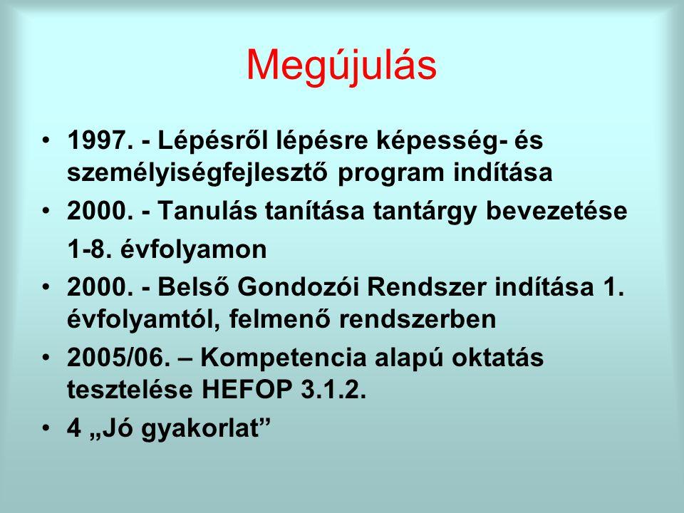 Megújulás 1997. - Lépésről lépésre képesség- és személyiségfejlesztő program indítása 2000.