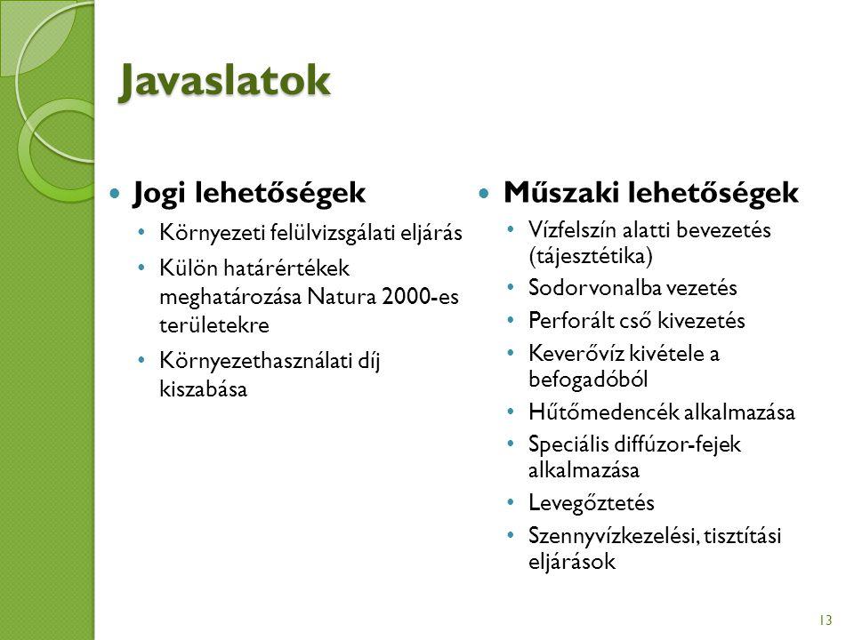 Javaslatok Jogi lehetőségek Környezeti felülvizsgálati eljárás Külön határértékek meghatározása Natura 2000-es területekre Környezethasználati díj kiszabása Műszaki lehetőségek Vízfelszín alatti bevezetés (tájesztétika) Sodorvonalba vezetés Perforált cső kivezetés Keverővíz kivétele a befogadóból Hűtőmedencék alkalmazása Speciális diffúzor-fejek alkalmazása Levegőztetés Szennyvízkezelési, tisztítási eljárások 13