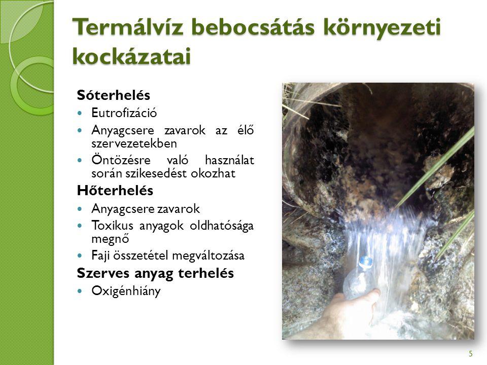 Termálvíz bebocsátás környezeti kockázatai Sóterhelés Eutrofizáció Anyagcsere zavarok az élő szervezetekben Öntözésre való használat során szikesedést okozhat Hőterhelés Anyagcsere zavarok Toxikus anyagok oldhatósága megnő Faji összetétel megváltozása Szerves anyag terhelés Oxigénhiány 5