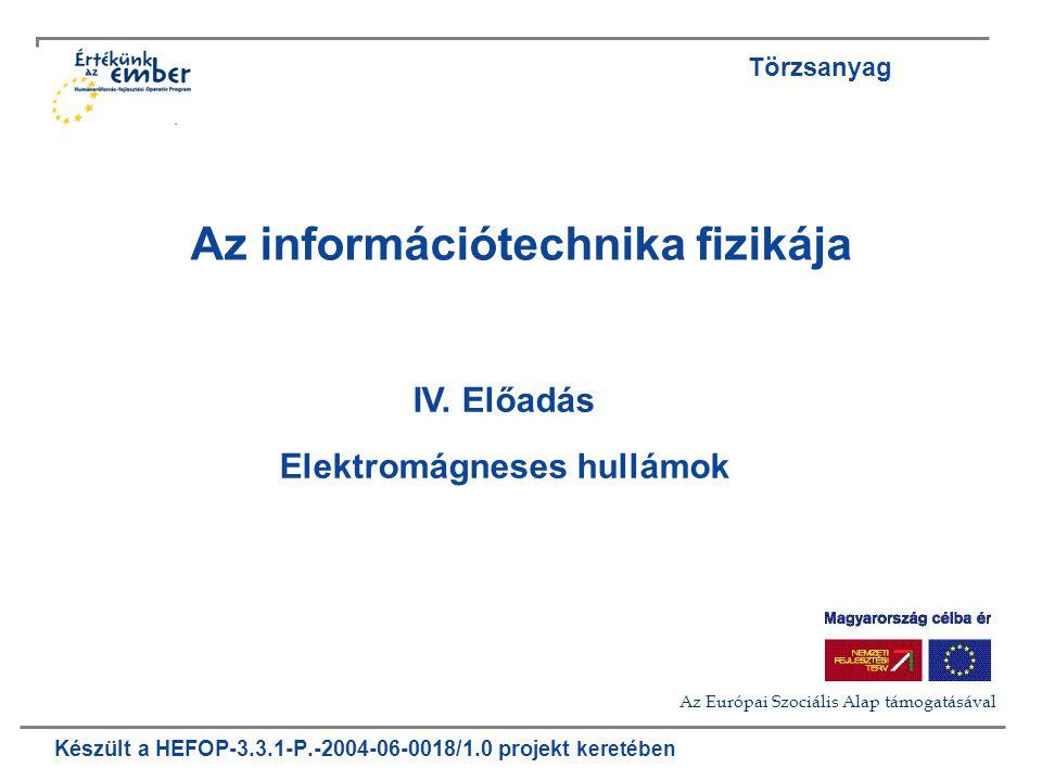 Készült a HEFOP-3.3.1-P.-2004-06-0018/1.0 projekt keretében Az információtechnika fizikája IV. Előadás Elektromágneses hullámok Törzsanyag Az Európai
