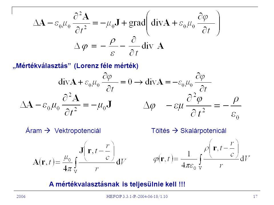"""2006 HEFOP 3.3.1-P.-2004-06-18/1.10 17 """"Mértékválasztás"""" (Lorenz féle mérték) Áram  VektropotenciálTöltés  Skalárpotenicál A mértékvalasztásnak is t"""
