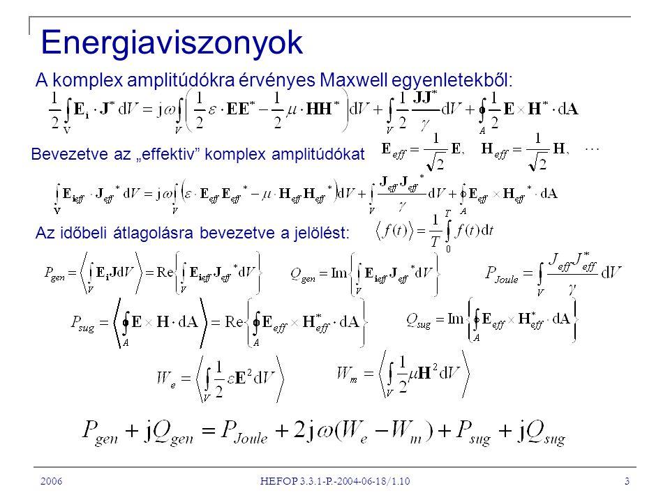 """2006 HEFOP 3.3.1-P.-2004-06-18/1.10 3 Energiaviszonyok A komplex amplitúdókra érvényes Maxwell egyenletekből: Bevezetve az """"effektiv"""" komplex amplitúd"""