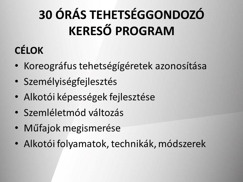 30 ÓRÁS TEHETSÉGGONDOZÓ KERESŐ PROGRAM CÉLOK Koreográfus tehetségígéretek azonosítása Személyiségfejlesztés Alkotói képességek fejlesztése Szemléletmó