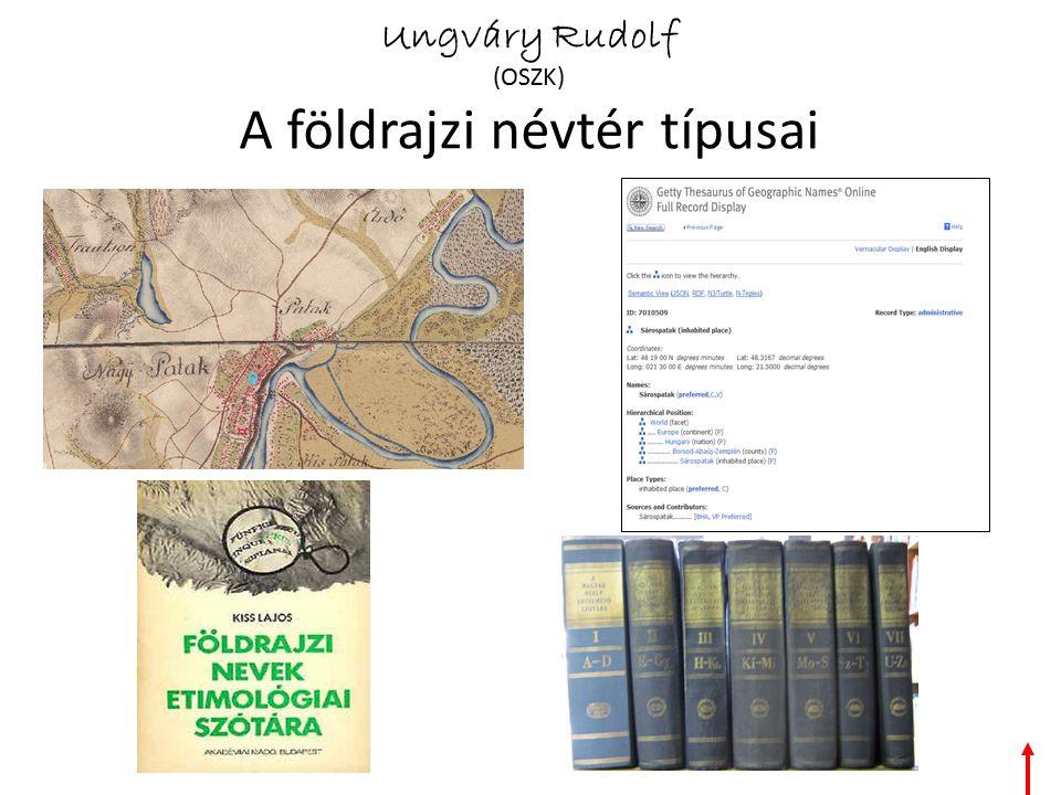 Ungváry Rudolf (OSZK) A földrajzi névtér típusai