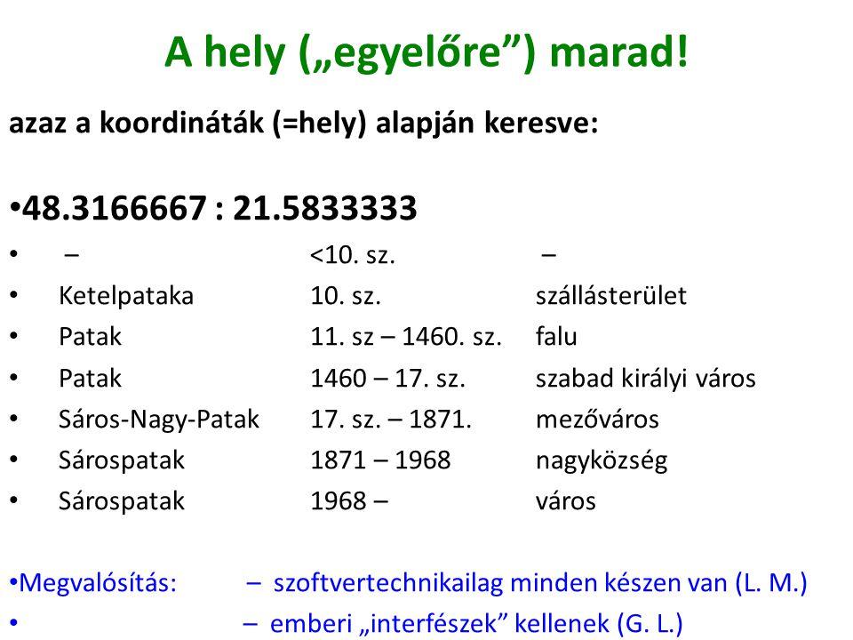 """A hely (""""egyelőre"""") marad! azaz a koordináták (=hely) alapján keresve: 48.3166667 : 21.5833333 –<10. sz. – Ketelpataka10. sz.szállásterület Patak11. s"""