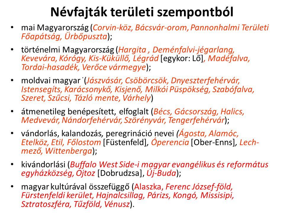 Névfajták területi szempontból mai Magyarország (Corvin-köz, Bácsvár-orom, Pannonhalmi Területi Főapátság, Ürbőpuszta); történelmi Magyarország (Hargi