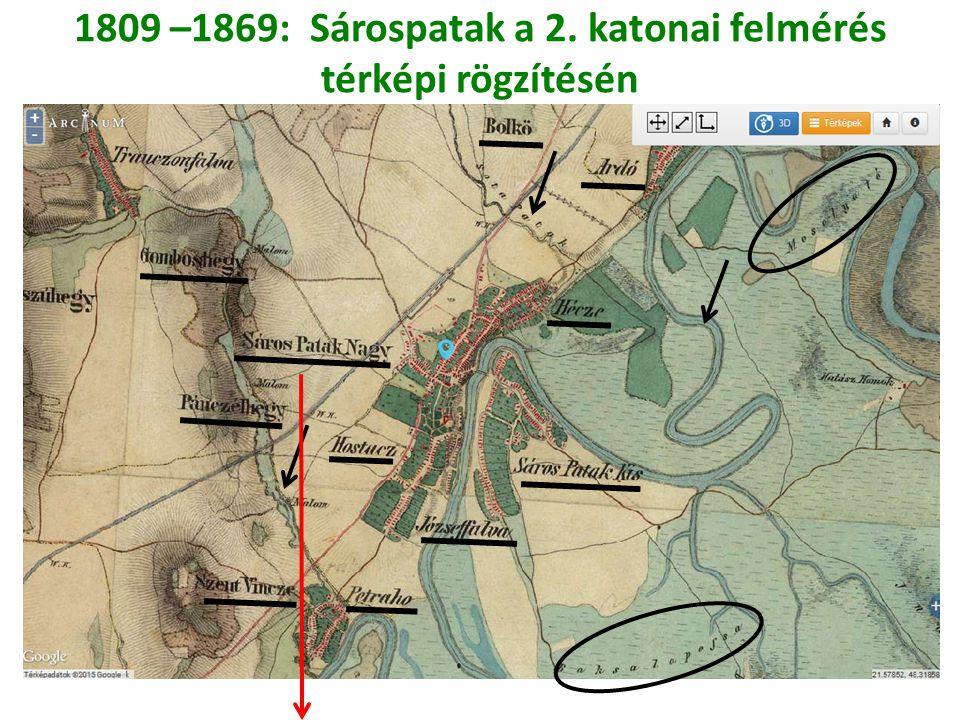 1809 –1869: Sárospatak a 2. katonai felmérés térképi rögzítésén