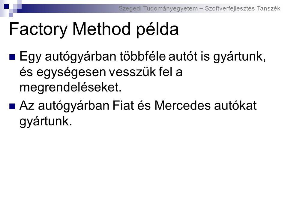Szegedi Tudományegyetem – Szoftverfejlesztés Tanszék Factory Method példa Egy autógyárban többféle autót is gyártunk, és egységesen vesszük fel a megrendeléseket.