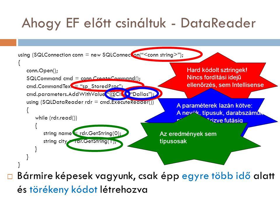 Egy fokkal közelebb - DataSet dsNorthwind dsNorth = new dsNorthwind(); ProductsTableAdapter taProducts = new ProductsTableAdapter(); taProducts.Fill(dsNorth.Products); foreach (dsNorthwind.ProductsRow row in dsNorth.Products) { Response.Write(row.ProductName + + row.UnitPrice + ); }  A háttérben még mindig SQL szkripteket írunk és az eredmények továbbra sem az üzleti objektumainkba érkeznek