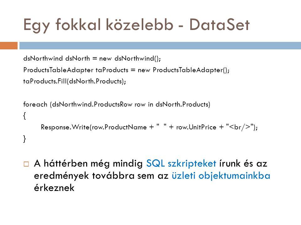 Entity Data Model demó  EDM design módok  Database first  Model First (4.0 óta)  Code First (4.1 óta) Data annotations / Fluent API  Designer túra…  Új Entity Data Model létrehozása a mapping wizard segítségével  Entitások, skalár és navigációs tulajdonságok az EDM Designer-ben  Model Browser  Mapping Details  EDMX file  Generált entity class-ok Rob Vettor 16