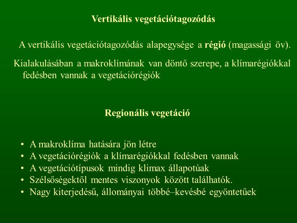 Vertikális vegetációtagozódás A vertikális vegetációtagozódás alapegysége a régió (magassági öv). Kialakulásában a makroklímának van döntő szerepe, a