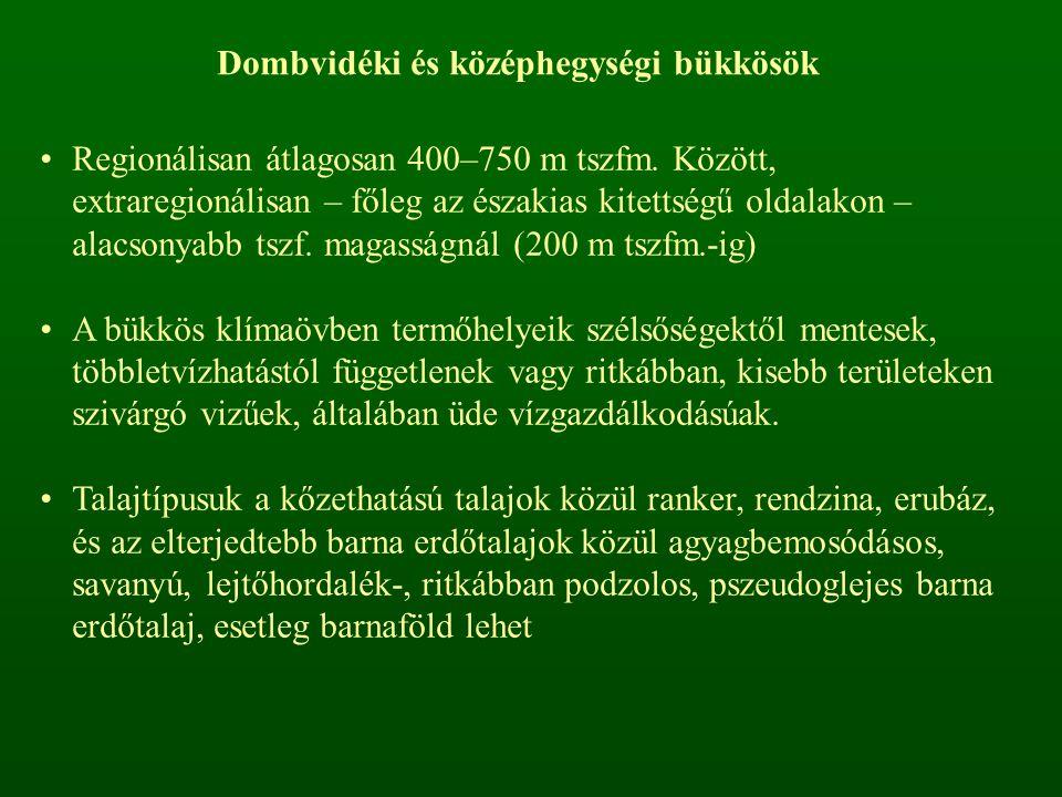 Regionálisan átlagosan 400–750 m tszfm. Között, extraregionálisan – főleg az északias kitettségű oldalakon – alacsonyabb tszf. magasságnál (200 m tszf