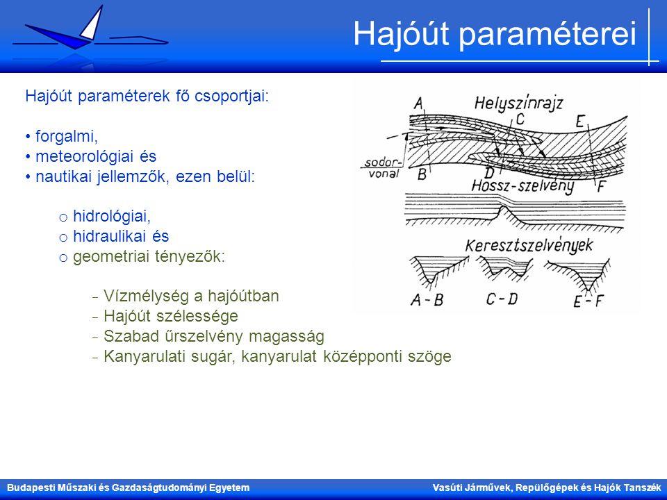Budapesti Műszaki és Gazdaságtudományi Egyetem Vasúti Járművek, Repülőgépek és Hajók Tanszék Hajóút paraméterei Hajóút paraméterek fő csoportjai: forg