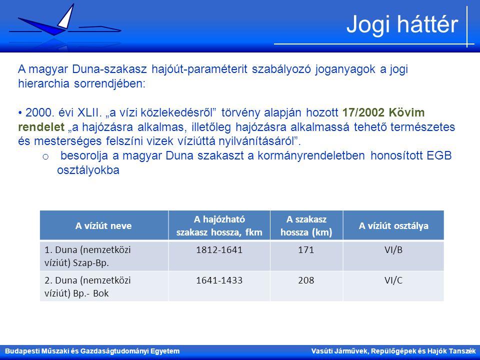Budapesti Műszaki és Gazdaságtudományi Egyetem Vasúti Járművek, Repülőgépek és Hajók Tanszék Jogi háttér A magyar Duna-szakasz hajóút-paraméterit szab