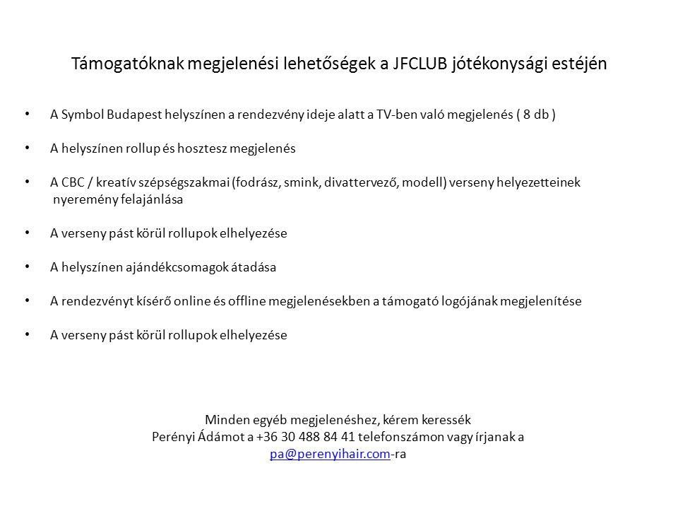Támogatóknak megjelenési lehetőségek a JFCLUB jótékonysági estéjén A Symbol Budapest helyszínen a rendezvény ideje alatt a TV-ben való megjelenés ( 8