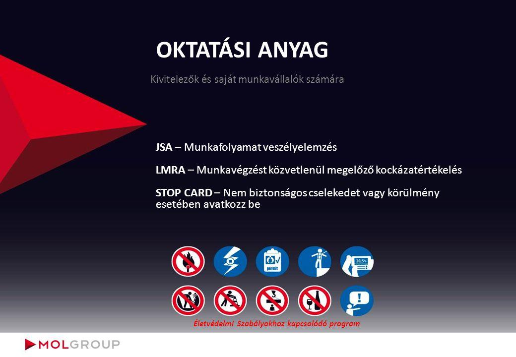 Felelősségek (STOP CARD) Munkairányítóként: ismerje meg a Stop CARD célját, folyamatát; támogassa a Stop CARD rendszer működését; járjon el személyes példamutatással (Stop CARD alkalmazásában és a balesetmentes munkavégzésben) a munkaterületen; ösztönözze az irányítása alatt dolgozó munkavállalókat, hogy ha nem biztonságos munkavégzést vagy cselekedetet látnak, akkor késlekedés nélkül avatkozzanak be; saját munkavégzés esetén hagyják abba vagy állítsák le a munkavégzést; más munkáltatóhoz tartozó munkavállalók vagy munkaterület esetén a nem megfelelőséget jelezzék a munkavégzők és a terület tulajdonosa (MOL) felé.
