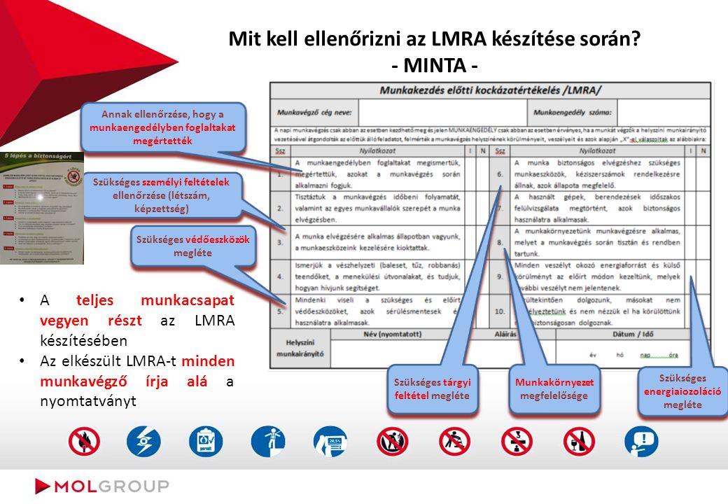 Mit kell ellenőrizni az LMRA készítése során? - MINTA - A teljes munkacsapat vegyen részt az LMRA készítésében Az elkészült LMRA-t minden munkavégző í