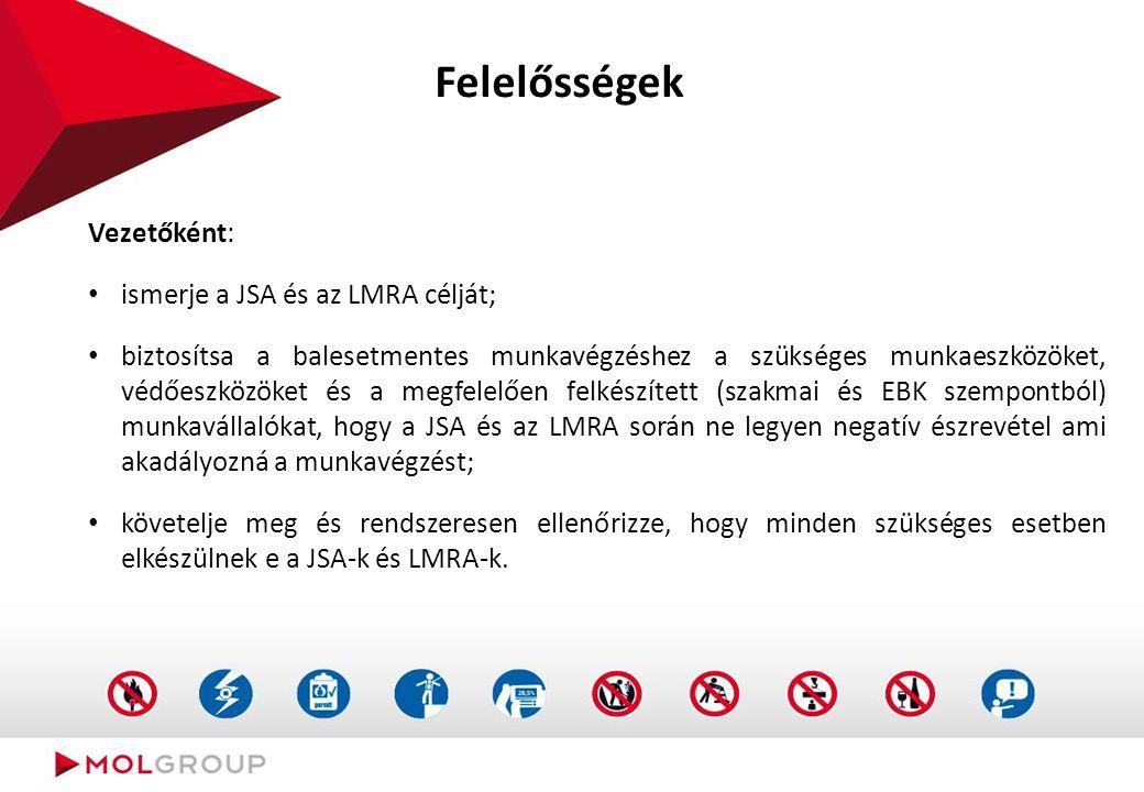 Felelősségek Vezetőként: ismerje a JSA és az LMRA célját; biztosítsa a balesetmentes munkavégzéshez a szükséges munkaeszközöket, védőeszközöket és a m