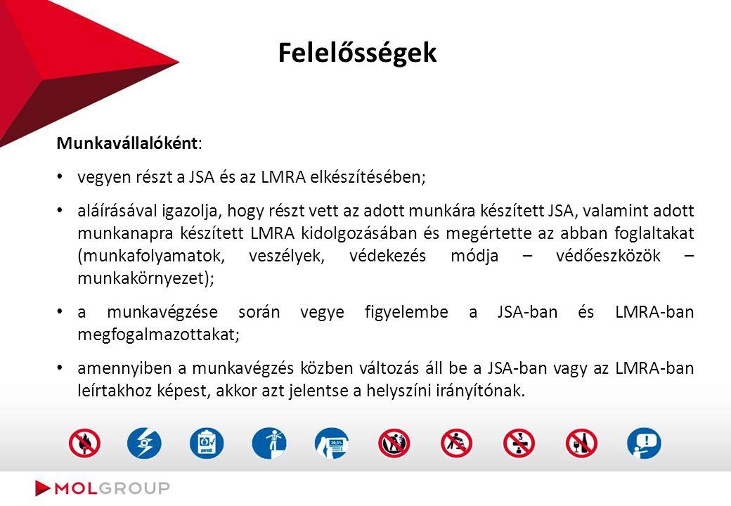 Felelősségek Munkavállalóként: vegyen részt a JSA és az LMRA elkészítésében; aláírásával igazolja, hogy részt vett az adott munkára készített JSA, val