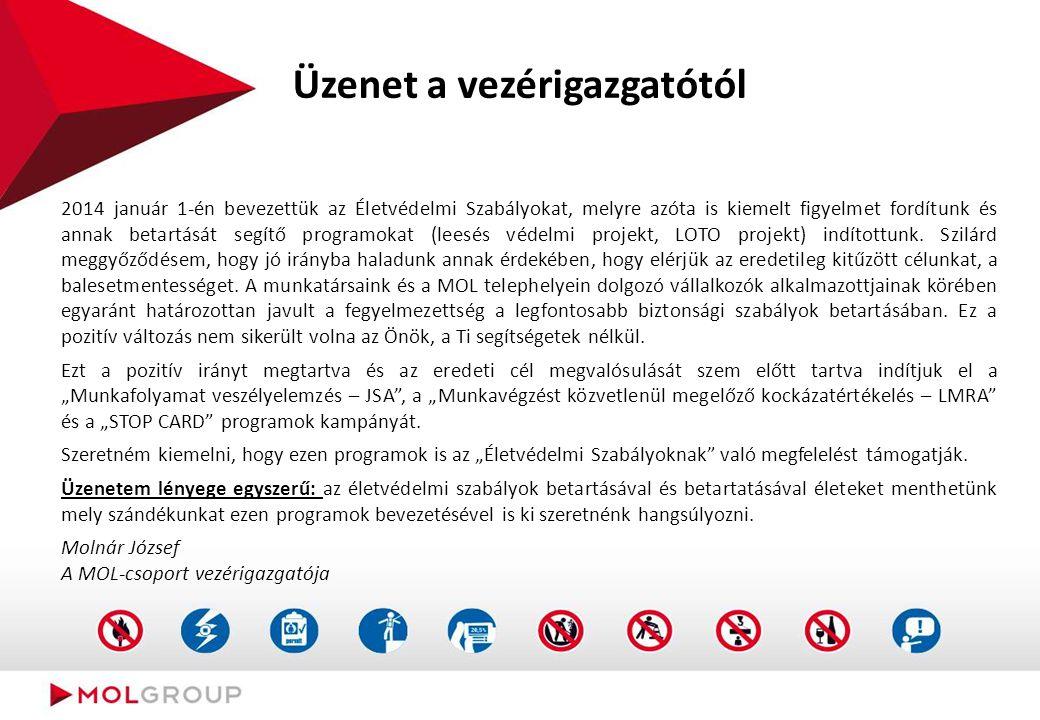Felelősségek (STOP CARD) Munkavállalóként: ismerje meg a Stop CARD célját, folyamatát; a munkavégzés során tartsa be a szabályokat és nem megfelelőség (munkafolyamat vagy munkakörnyezet) esetén jelezze azt a helyszíni munkairányítónak vagy a munkavégzésben érintett más munkáltató munkavállalóinak; az észrevételeiről (nem biztonságos cselekedetek és munkakörülmények) töltsön ki egy STOP CARD-ot és dobja be azt a legközelebbi gyűjtőládába.