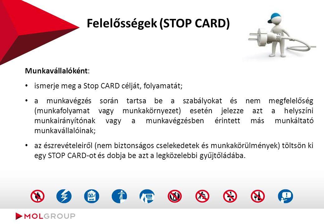 Felelősségek (STOP CARD) Munkavállalóként: ismerje meg a Stop CARD célját, folyamatát; a munkavégzés során tartsa be a szabályokat és nem megfelelőség