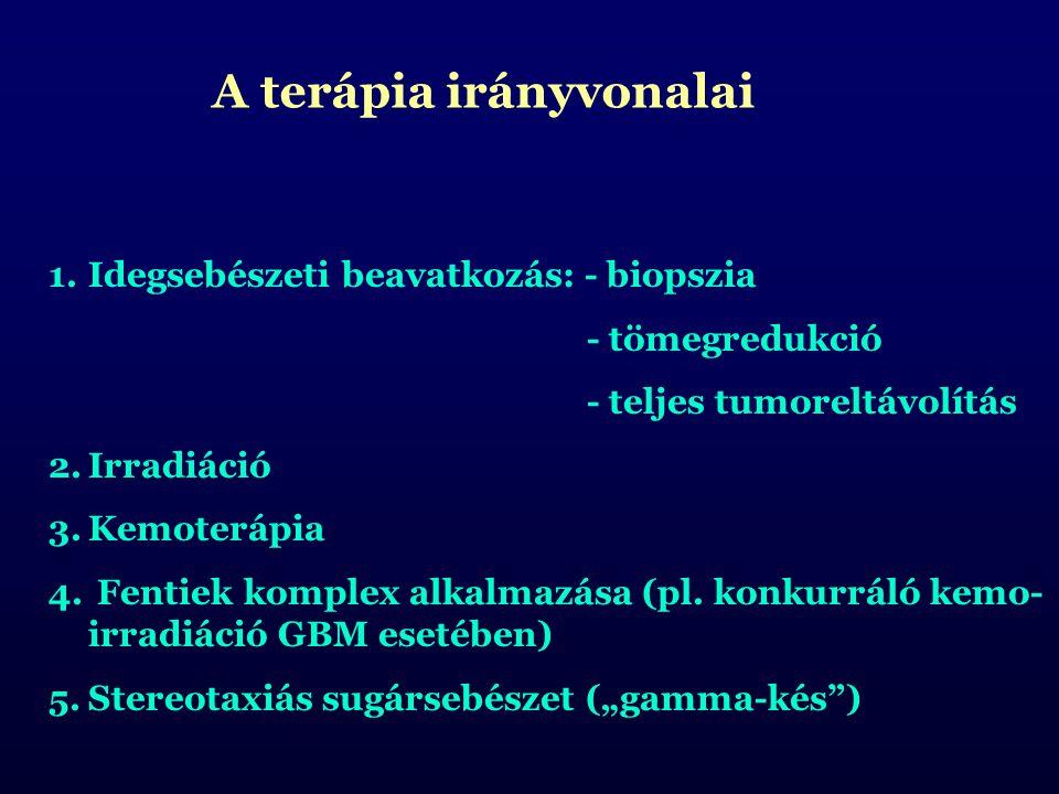 A terápia irányvonalai 1.Idegsebészeti beavatkozás: - biopszia - tömegredukció - teljes tumoreltávolítás 2.Irradiáció 3.Kemoterápia 4. Fentiek komplex