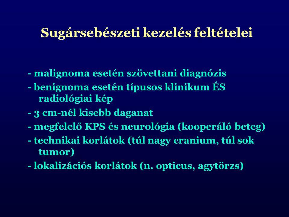 - malignoma esetén szövettani diagnózis - benignoma esetén típusos klinikum ÉS radiológiai kép - 3 cm-nél kisebb daganat - megfelelő KPS és neurológia (kooperáló beteg) - technikai korlátok (túl nagy cranium, túl sok tumor) - lokalizációs korlátok (n.