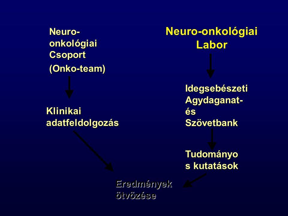 Neuro-onkológiai Labor Neuro- onkológiai Csoport (Onko-team) Idegsebészeti Agydaganat- és Szövetbank Tudományo s kutatások Klinikai adatfeldolgozás Eredmények ötvözése