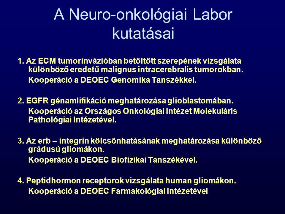 A Neuro-onkológiai Labor kutatásai 1. Az ECM tumorinvázióban betöltött szerepének vizsgálata különböző eredetű malignus intracerebralis tumorokban. Ko