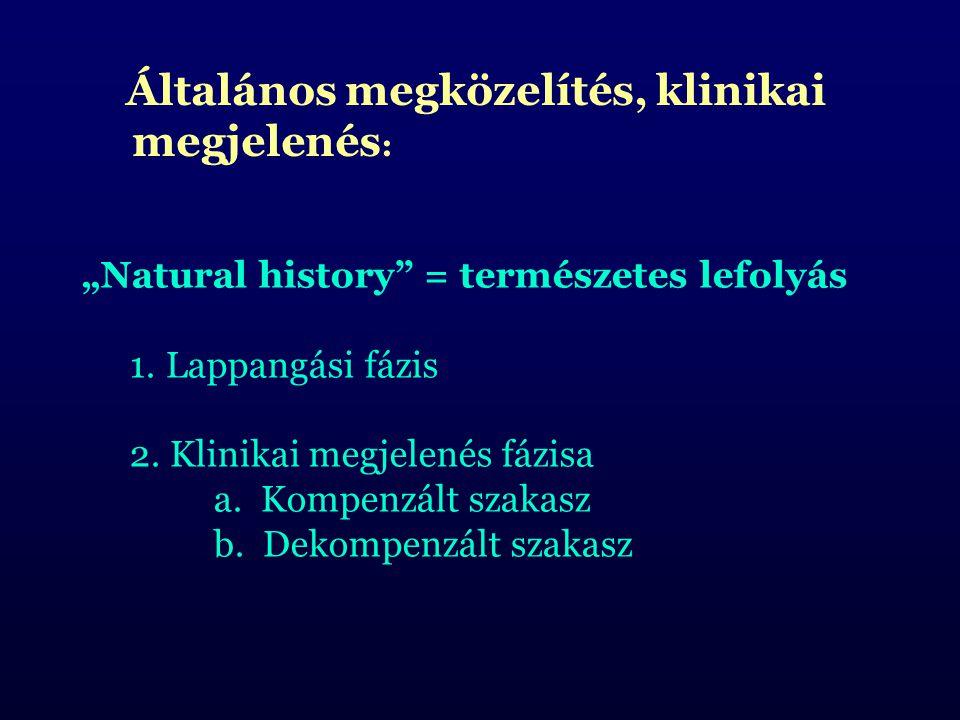 """Általános megközelítés, klinikai megjelenés : """"Natural history"""" = természetes lefolyás 1.Lappangási fázis 2. Klinikai megjelenés fázisa a. Kompenzált"""