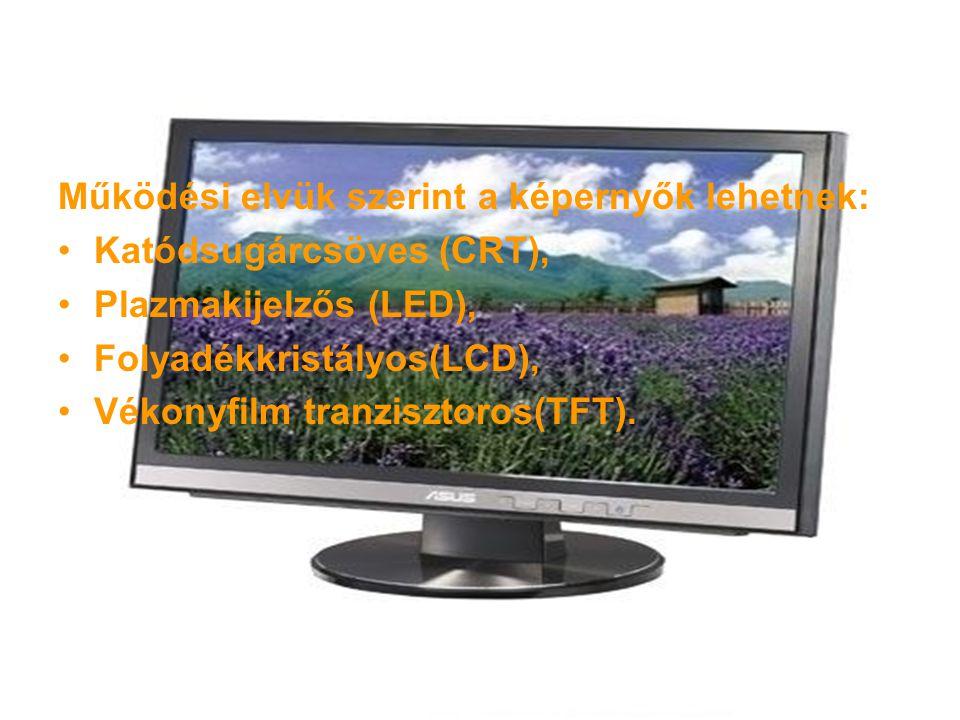 Működési elvük szerint a képernyők lehetnek: Katódsugárcsöves (CRT), Plazmakijelzős (LED), Folyadékkristályos(LCD), Vékonyfilm tranzisztoros(TFT).