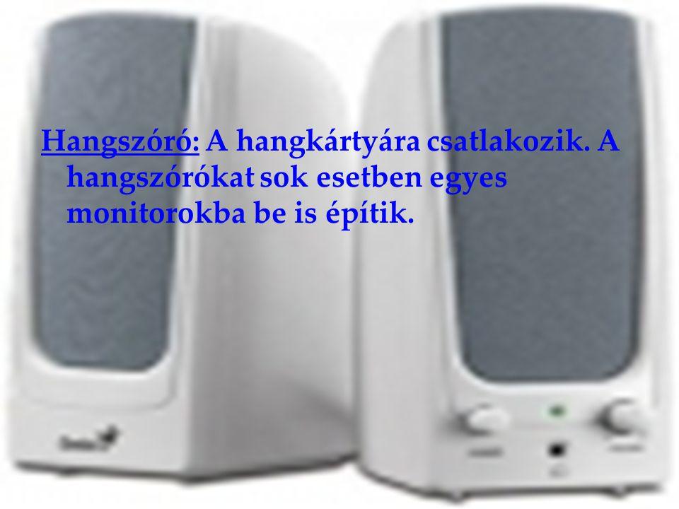 Hangszóró: A hangkártyára csatlakozik. A hangszórókat sok esetben egyes monitorokba be is építik.