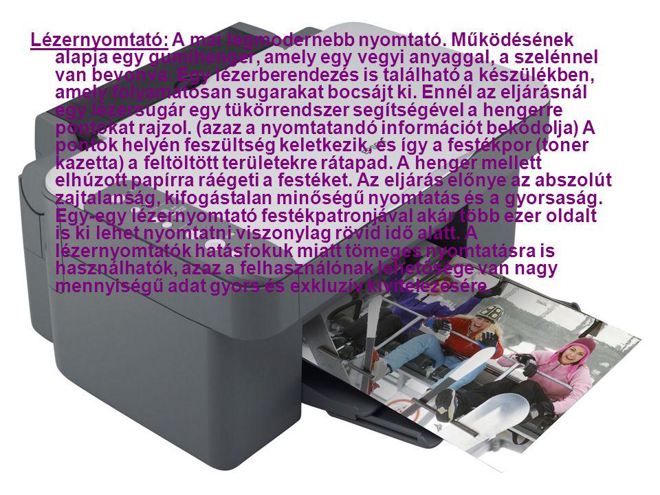 Lézernyomtató: A mai legmodernebb nyomtató.